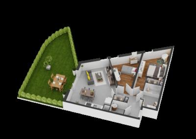 A004- Plan 3D - Residence L'Ecrin Bleu - Balaruc-les-Bains - 34