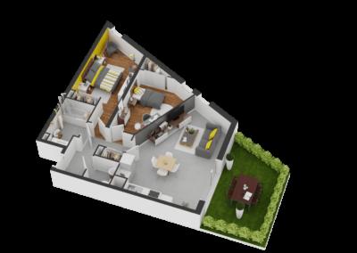 A014- Plan 3D - Residence L'Ecrin Bleu - Balaruc-les-Bains - 34