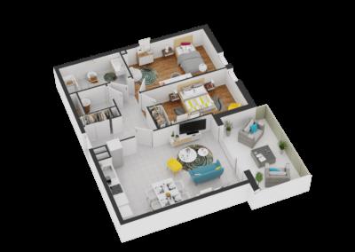 A106- Plan 3D - Residence L'Ecrin Bleu - Balaruc-les-Bains - 34