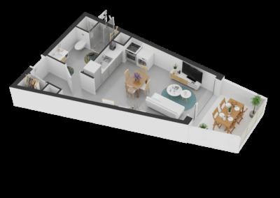 A116- Plan 3D - Residence L'Ecrin Bleu - Balaruc-les-Bains - 34