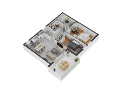 A206- Plan 3D - Residence L'Ecrin Bleu - Balaruc-les-Bains - 34