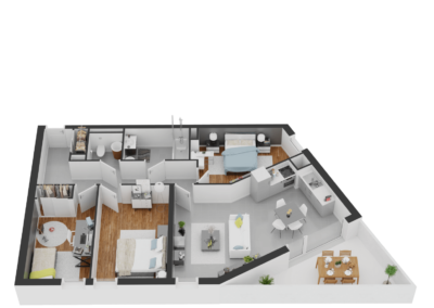 A304- Plan 3D - Residence L'Ecrin Bleu - Balaruc-les-Bains - 34